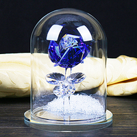 H&D 4.7'' Crystal Enchanted Rose Blue Rose Flower Figurine Dreams Ornament in a Glass Dome Gifts for Lover's Chrismas Favors