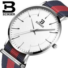 Швейцария BINGER мужчины часы люксовый бренд ультратонкий ограниченным тиражом Водонепроницаемый любителей кварцевые Наручные Часы B-3050M-11