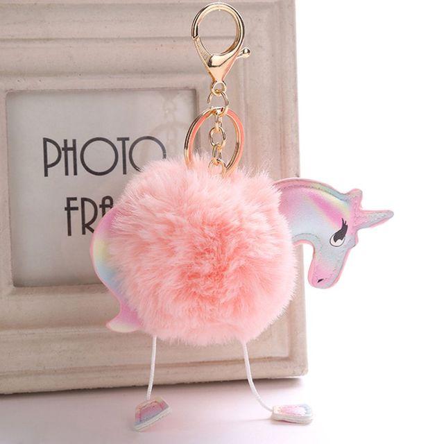 1 PC Bonito Fluffy Unicorn Keychain falso Artificial Pele De Coelho Rosa Corrente Chave Dos Desenhos Animados Bola Pom Pom Chaveiro Pingente de Chave acessórios