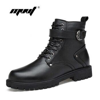 Botas de invierno de cuero Natural para hombre, botas de nieve de piel abrigadas, hechas a mano, zapatos de otoño e invierno para hombre dropshipping. exclusivo.