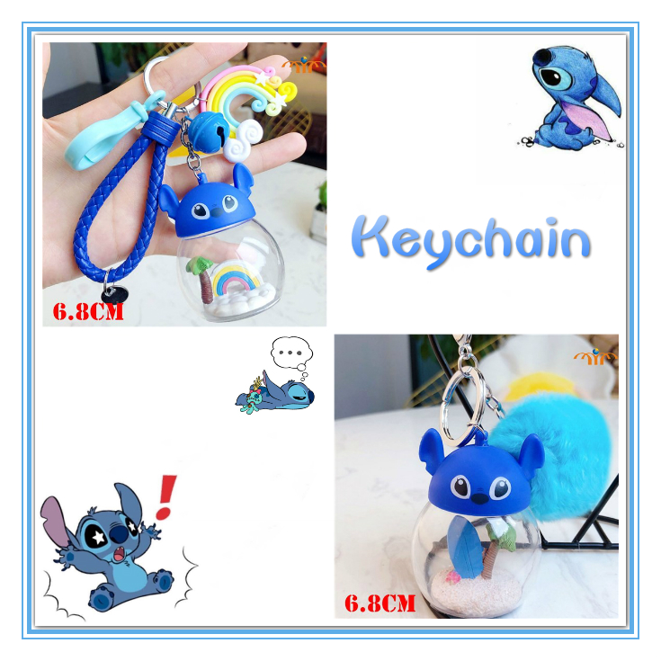 Giancomics Cute Lilo and Stitch Cartoon Keychain Kawaii Stitch Pattern Key Chain Stich Toy Keyring Fit For Backpack Purse Decor