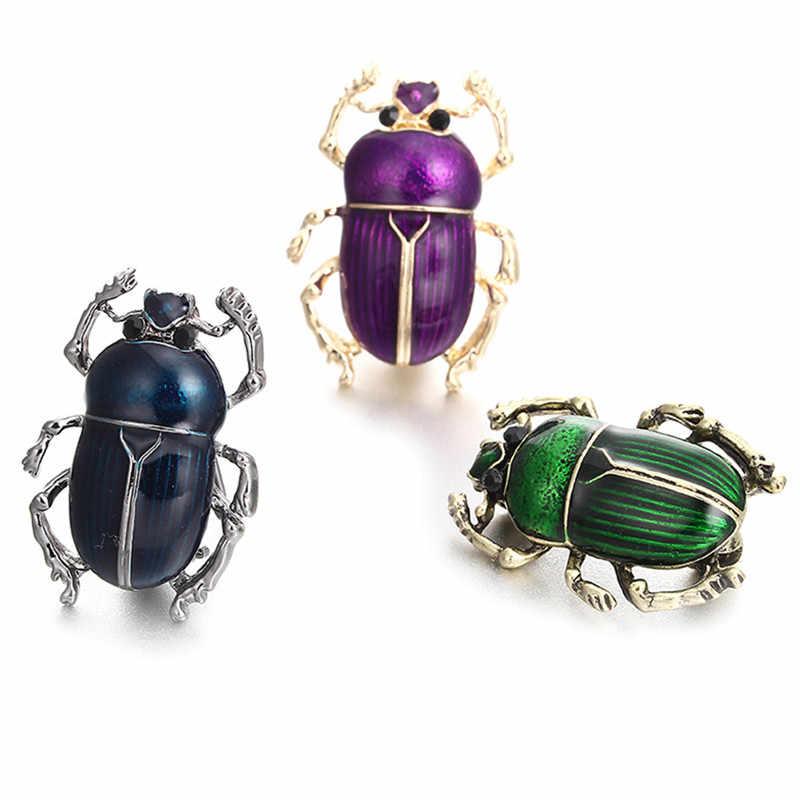 JETTINGBUTY Vivid Beetle Hewan Serangga Perhiasan Pin Jilbab Sweater Dress Broche Bijoux Ungu Bros Halus Enamel Polish