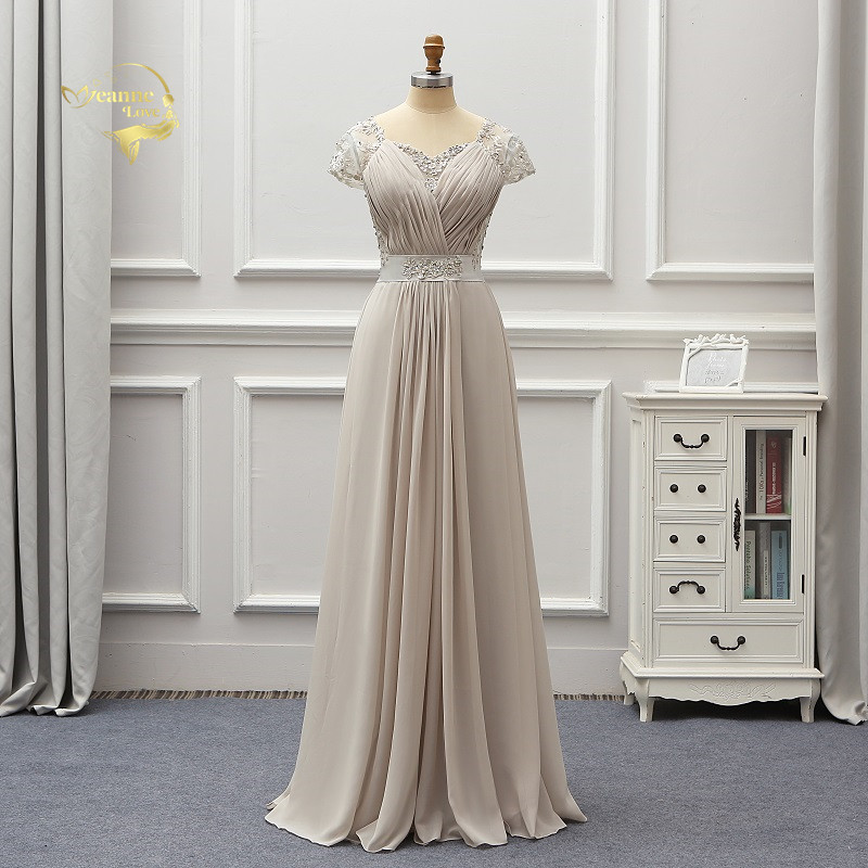 Cap Sleeves Lace Applique Evening Formal Dresses Silver Chiffon Beaded Plus Size Mother Brides Gown noiva