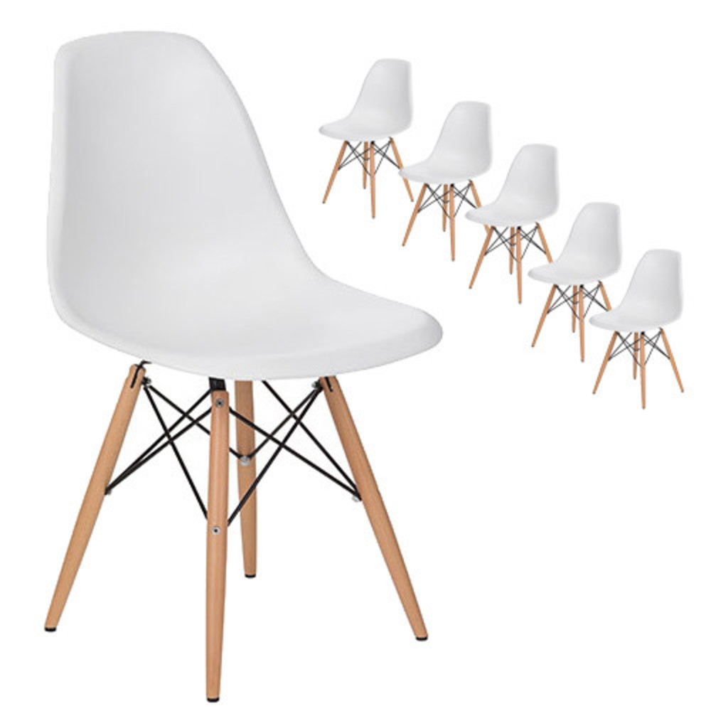 все цены на Modern Design Dining Side Chair With Wood Legs/ Plastic fashion design Classic side Chair/ loft style cafe Dining Chair-6PCS SET
