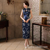 Navy Blue Flowers Ladies Sexy Long Qipao Chinese Style Satin Cheongsam Classic Sexy Evening Dress Size