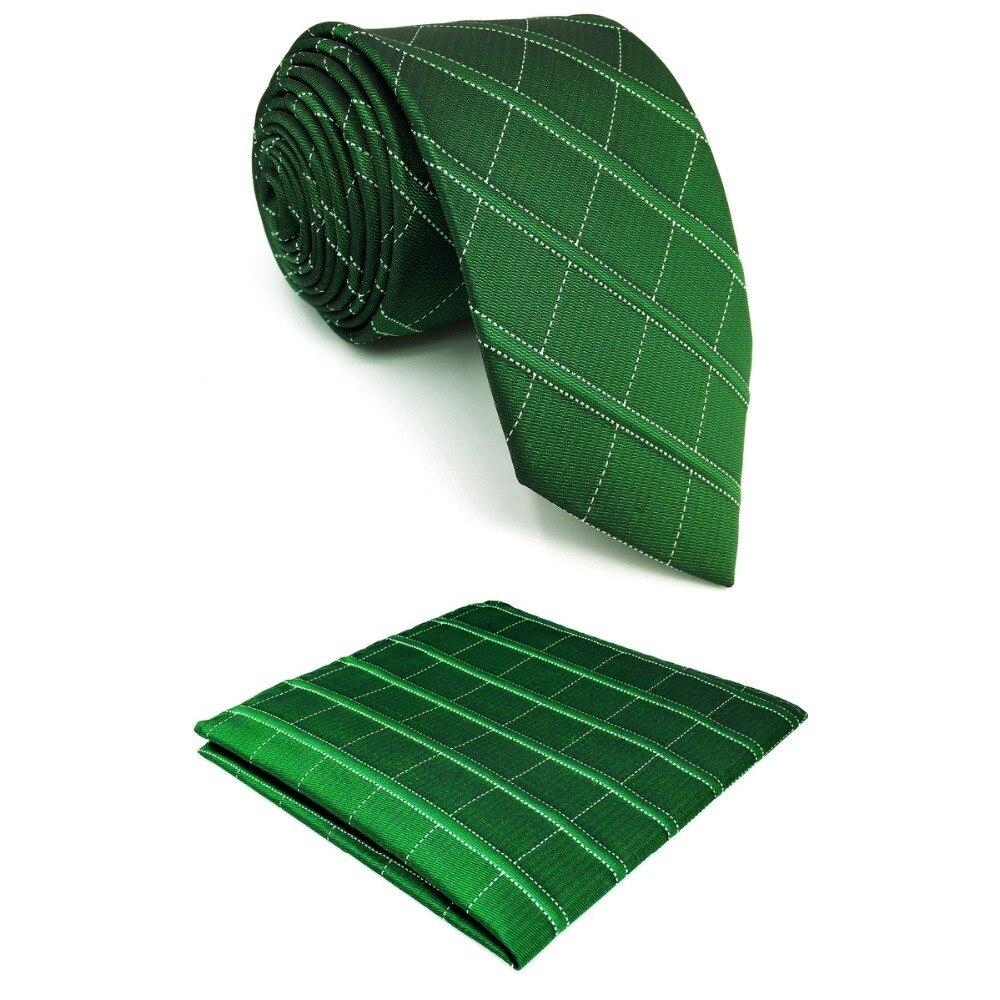 D28 Deep Green Checkes Silk Mens Necktie Set Wedding Fashion Extra Long Size 63