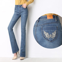 Spring High Waist Stretch Jeans Woman Straight Trousers Embroidered Women Denim Flare Jeans Femme Wide Leg