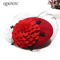 QDKPOTC Quality Wool Felt Women Hat Veil Vintage Elegant Fedoras Mesh Wedding Party Church Hats Winter Banquet Female Berets