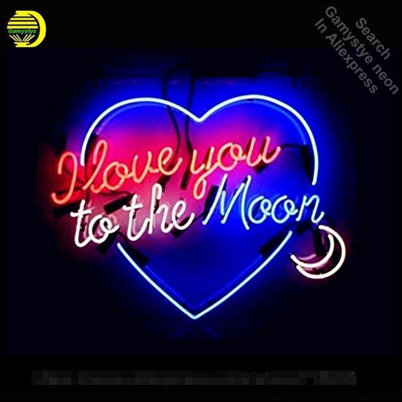 Неоновая вывеска I love you to the Moon неоновая вывеска стекло ручной работы трубки индивидуальный логотип быстрая прямая поставка неоновые лампы