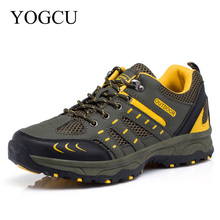 YOGCU Outdoor Walking Hiking Shoes Men Climbing Shoes Women Chaussure Boot Men's Leather Mountain Climbing Sneaker Mesh Trail