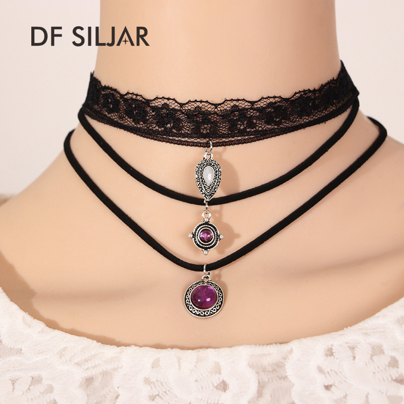 New Gothic Retro Vintage Lace Flower Triangle Tattoo Chocker Women Handmade Multilayer Black Velvet Neck Choker Necklace Y1767