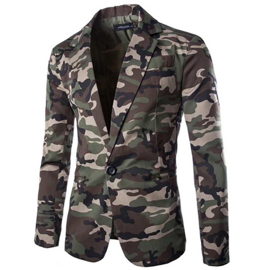 Men's Blazer Camouflage Men Slim Fit Casual Coats