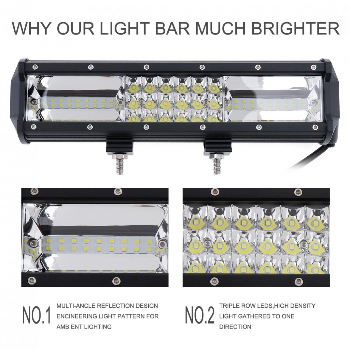 7D 12 Inch 324W Auto Car DRL LED Work Driving Light Bar Triple Row Spot Flood Combo Offroad Light Lamp for SUV Truck ATV tripcraft promotion 20 inch 60w crees led single row work light bar spot flood combo offroad driving lamp suv atv 10v 30v