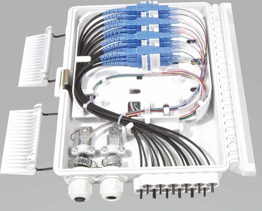 FTTH 12 núcleos caja de terminación de fibra 12 puertos 12 divisor de canales caja interior exterior de fibra divisor caja ABS