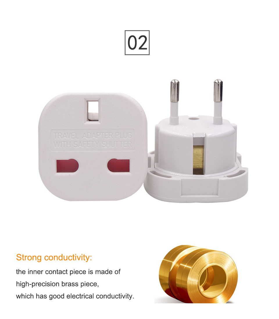 UK to European Euro EU AC Travel Charger Adapter Plug Outlet Converter Adapter power conversion plug Universal mobile phone (8)