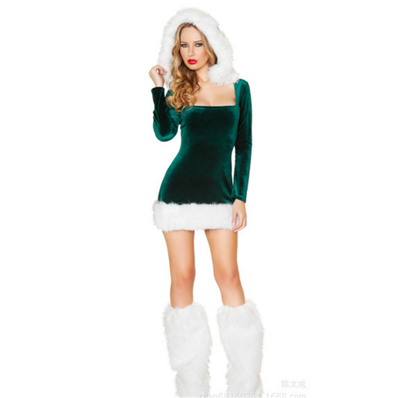 Girl Sexy Halter Green Christmas Dress high quality Nightclub stage performance Lingerie uniform temptation Christmas clothes