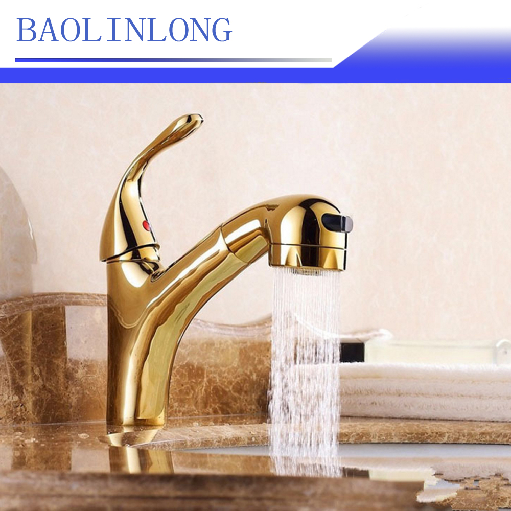 BAOLINLONG New Style Brass Deck Mount Bathroom Faucet Basin Vanity Vessel Sinks Mixer Tap Pull Out Faucets