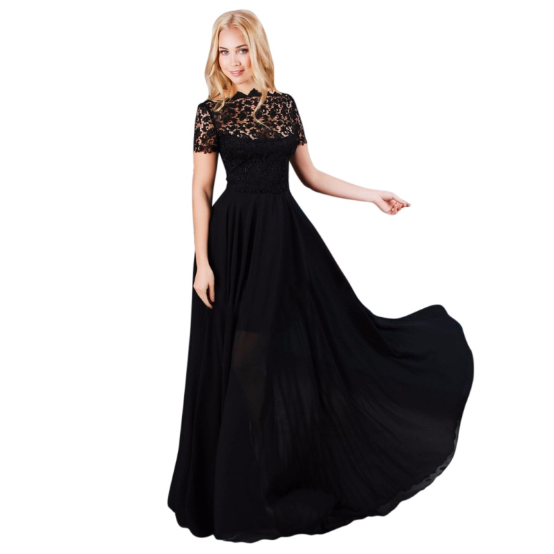 Summer Dress Women Maxi Dress Chiffon Lace O-Neck Women Long Dress Casual Elegant Short Sleeve Dress Summer Style