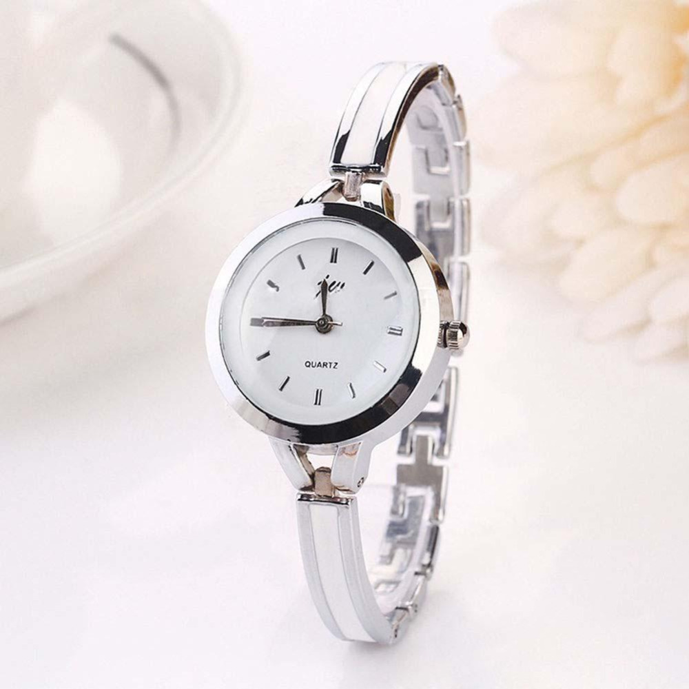Elegant Ladies Stainless Steel Bracelet Watch Analog Quartz Thin Band Women Round Dial Dress Silver Fashion Wrist Watches popular women watch analog with diamonds style round dial steel watch band