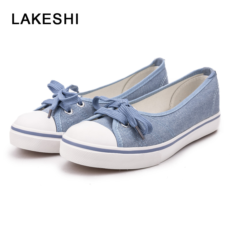 LAKESHI Women Canvas Shoes Women Casual Shoes Summer Comfortable Lace Up Women Flat Shoes Fashion Sneakers White Shoes Female instantarts casual teen girls flats shoes appaloosa horse flower pattern women lace up sneakers fashion comfort mesh flat shoes