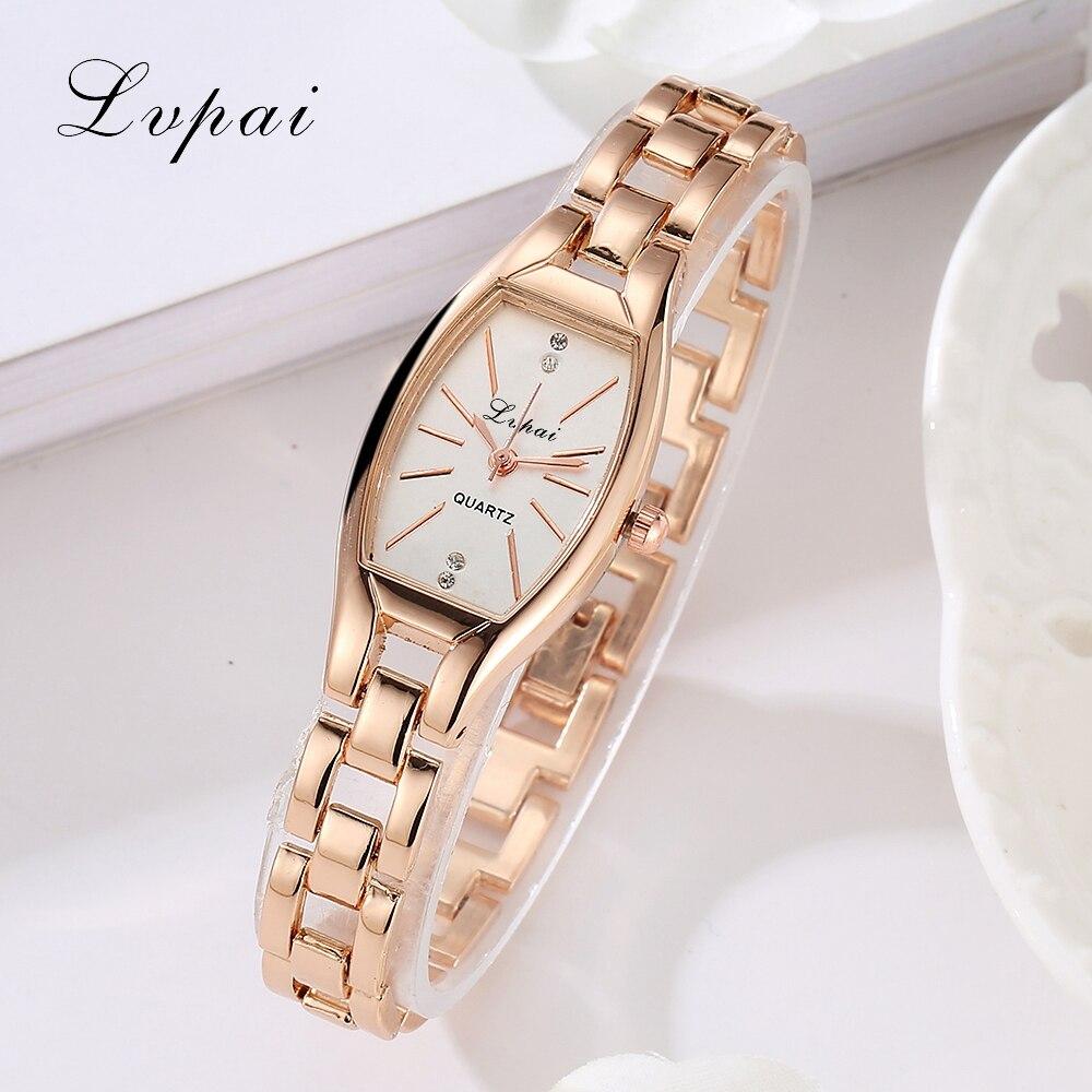 Rose Gold Casual Quartz Ladies WristWatches LVPAI New Arrive Ellipse Creative font b Women b font
