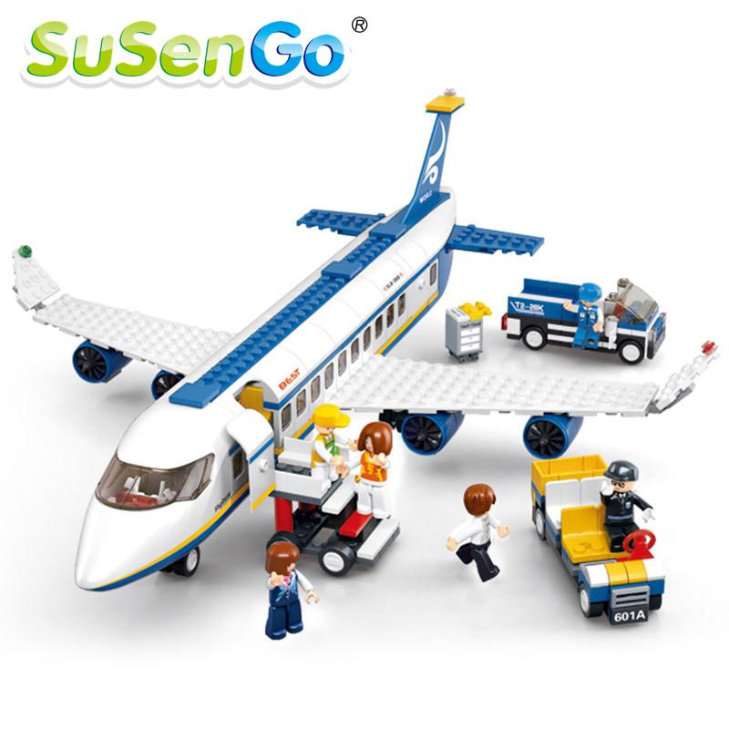 SuSenGo Blue Airbus Airplane Model Building Blocks 483pcs/set DIY Educational Bricks toy Compatible with Lepin susengo brazil world cup football soccer stadium building blocks bricks 3d diy kids gifts toy compatible with lepin