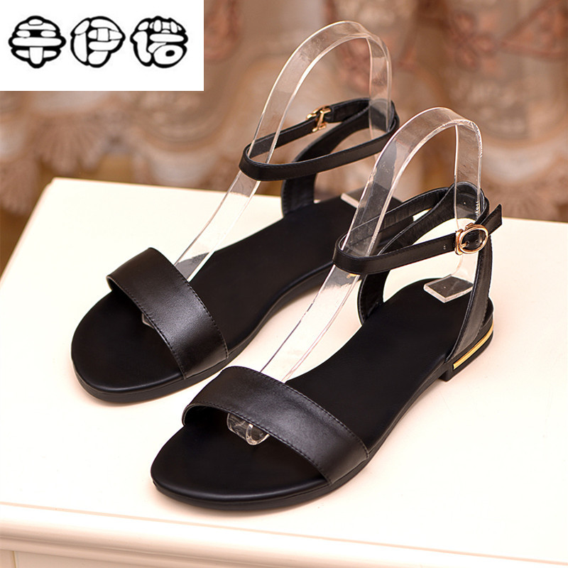 Plus size 34-43 new high quality genuine leather sandals women shoes ladies solid color flat summer beach shoes free shipping