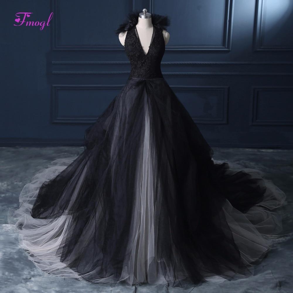 Fmogl New Charming Halter Neck Black A-Line Princess Wedding Dress 2019  Appliques Sashes Backless b6f3fec0be2c