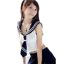 Student Sexy Cosplay White Top Sleeveless  Black Skirt Costume Sexy Role Play Games Trajes Student Uniform Sex Clothing Set CA24