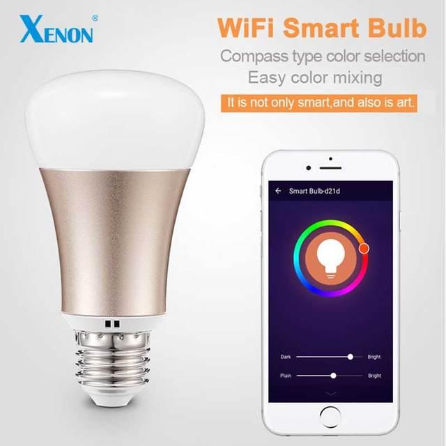 Xenon lâmpada de mesa Lâmpada Wi-Fi inteligente wreless aplicação lâmpada de controle RGB E27 Lâmpadas LED venda QUENTE Inteligente conduziu a Iluminação Lâmpadas SM-R60