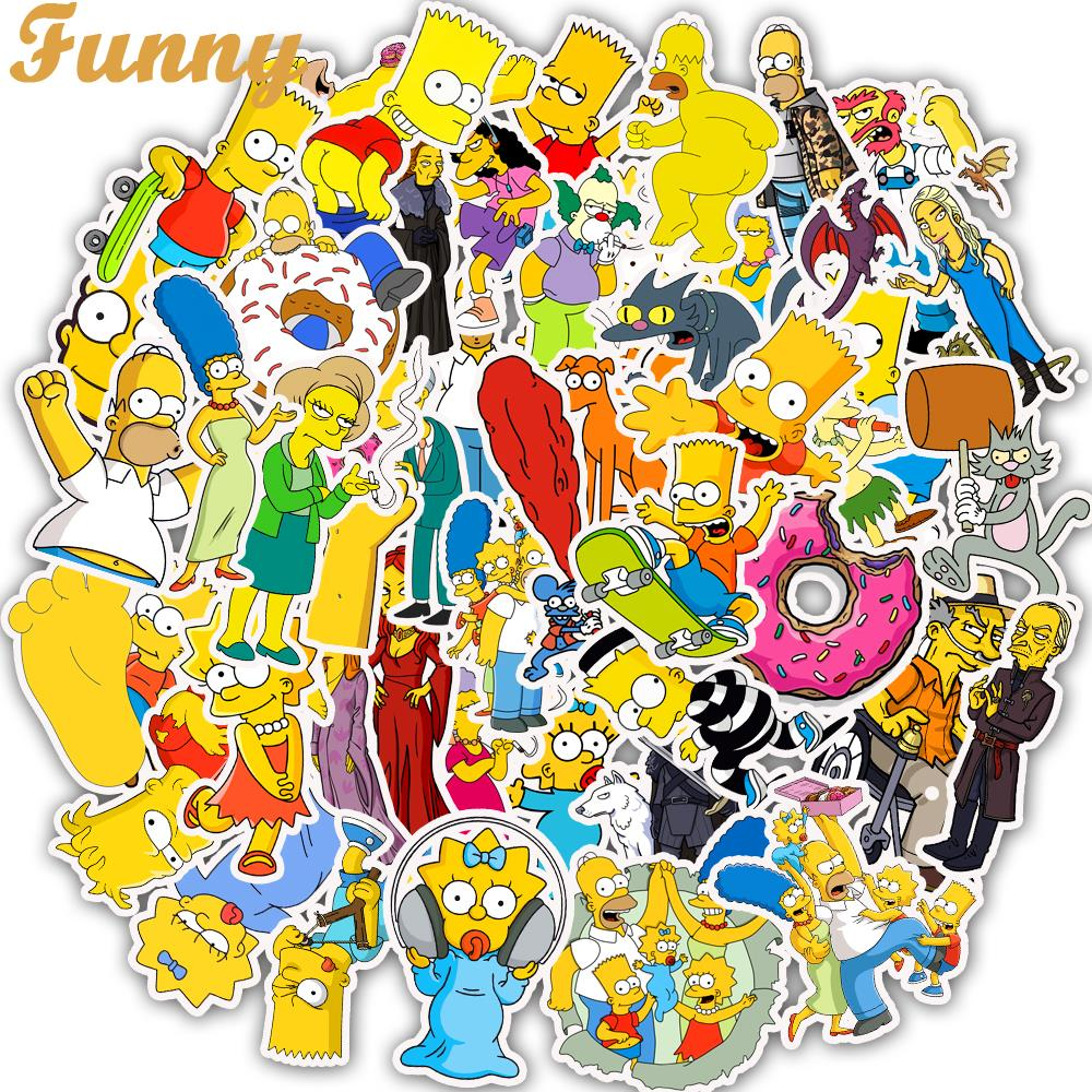 50Pcs/Lot Vinyl The Simpsons Stickers Anime Cartoon Sticker For Skateboard Luggage Laptop Guitar Fridge Phone Car Decal Stickers