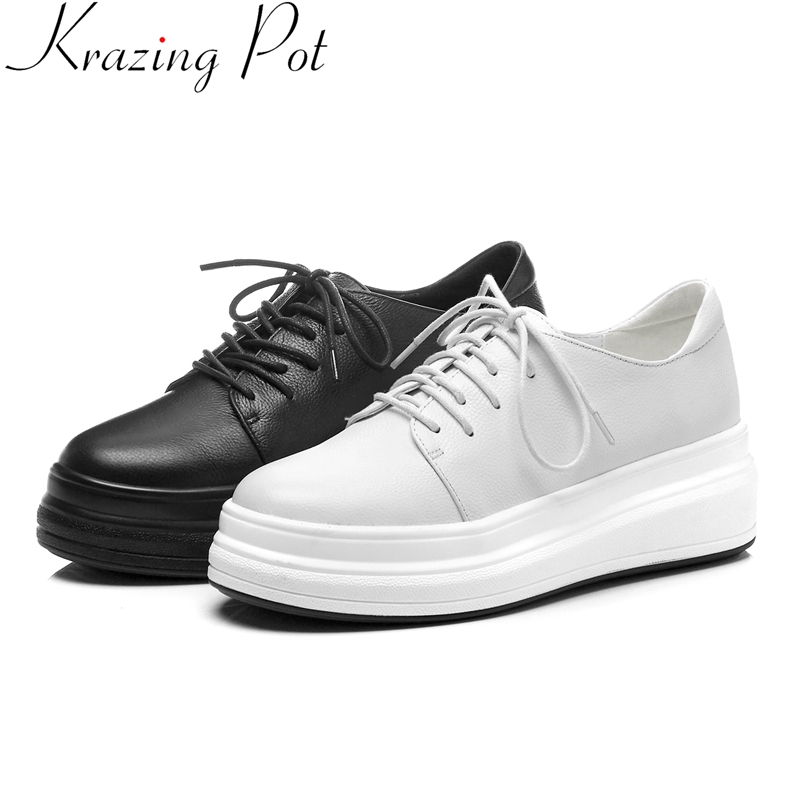 Krazing Pot fashion cow leather lace up round toe platform increasing casual shoes solid preppy style