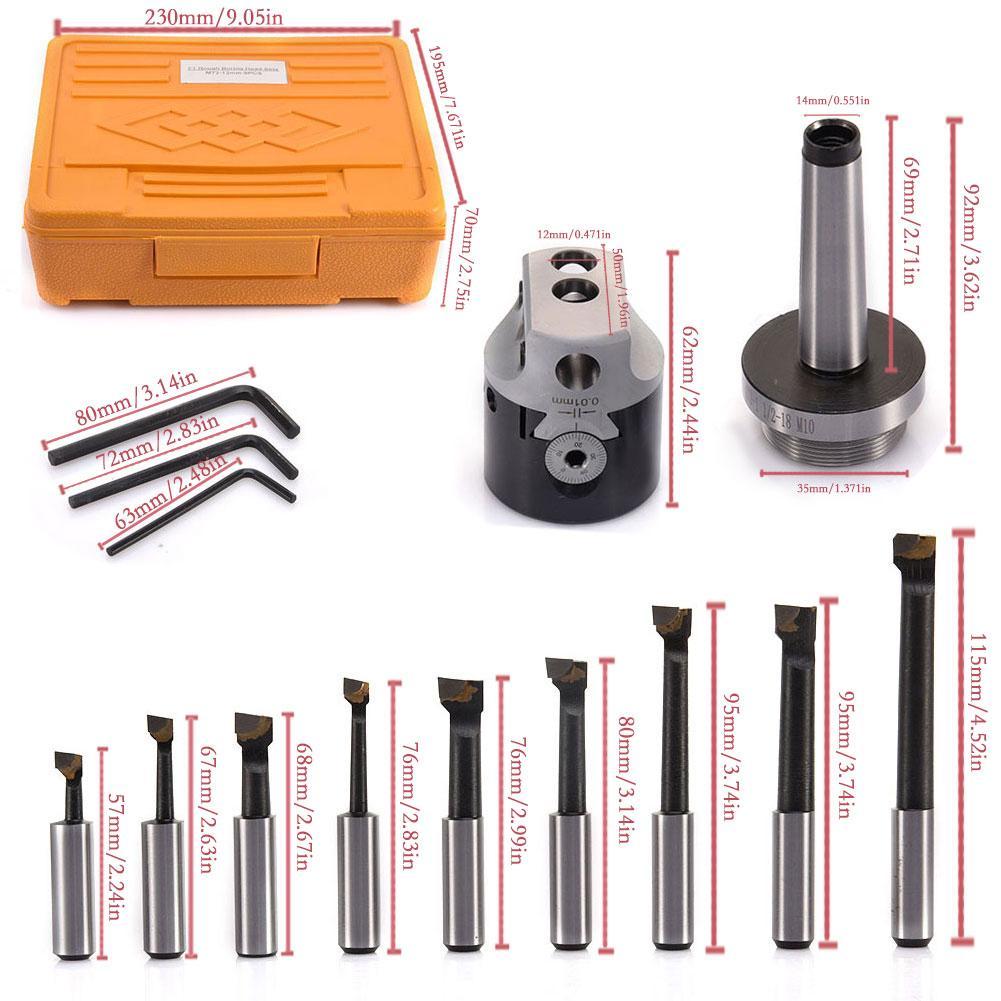 1 Set Milling Machine Accessories Tool F1-MT2-1 1/2-18 M10 50mm Boring Head With 9 12mm Boring Bar