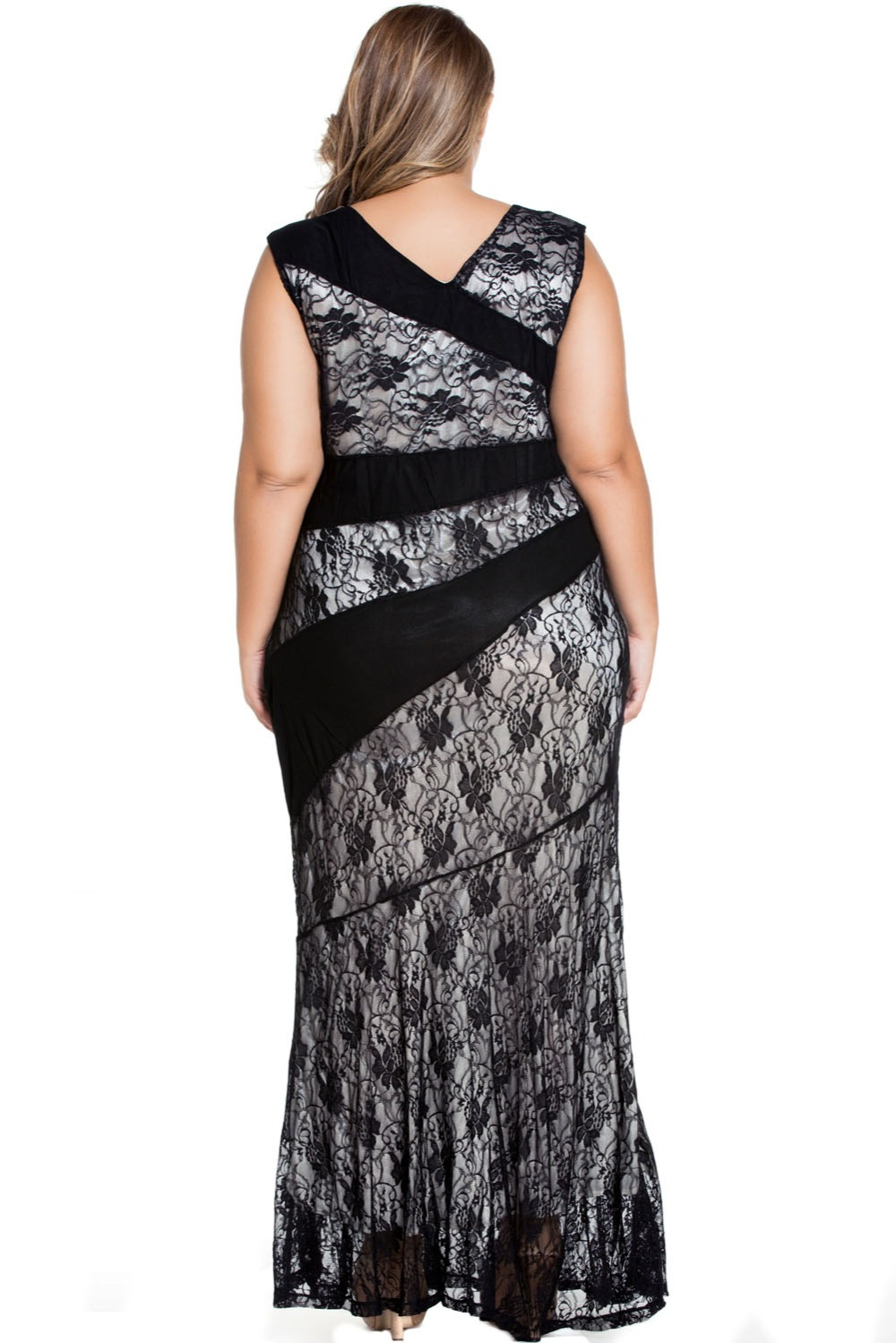 cfb73b100248 Cfanny 2016 New Black Red Blue Stylish Lace Splice Plus Size Mermaid Dress  Women Elegant Stripes Patchwork Long Party Dress-in Dresses from Women s  Clothing ...