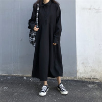 2018 Fashion Black Long Sleeve Shirt Dresses For Women Japanese Street Oversized Split Button Pocket Dress Female Casual Clothes