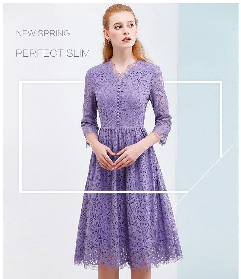 Sólo más mujeres púrpura Vestido de encaje 2018 otoño elegante ...