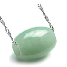 Natural green jade Auspicious beads pendant 925 Silver necklace Jewelry gifts
