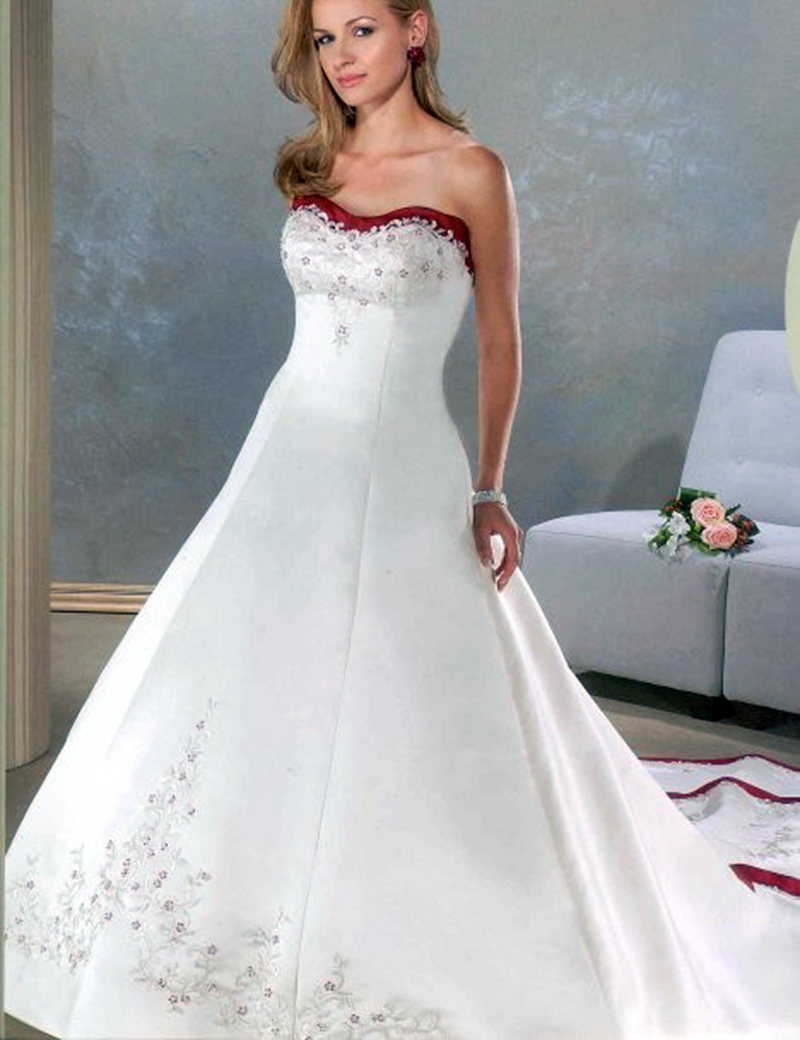 2018 Wine Red and White Wedding Dresses Sweetheart Satin Ball Gown ...