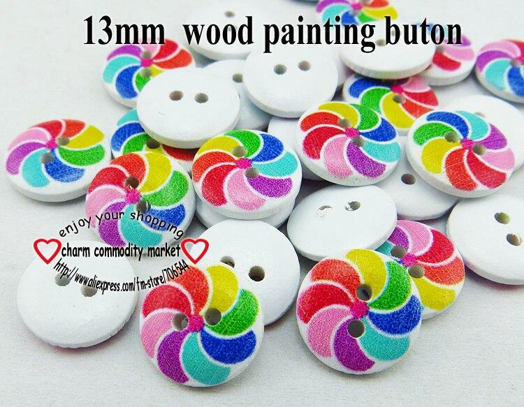 67e0ae479c24a 100 sztuk 13mm 2-Otwory kształt kolor malowania drewniane przyciski płaszcz  buty szyjące odzież MCB-790