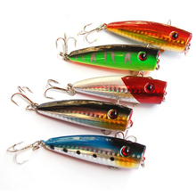 5pc Fishing Lures 5 colors Popper Lure 2.9″-7.3cm/0.39oz-11g fishing bait 6# high carbon steel hook fishing tackle
