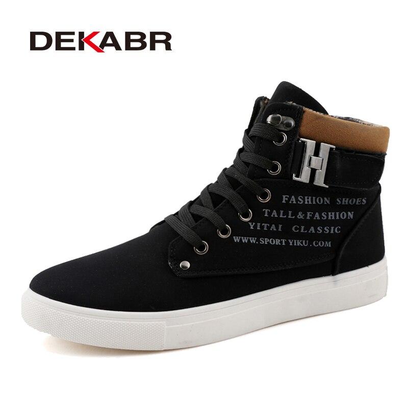 DEKABR Autumn Winter Men Boots Big Size 38-47 Fashion Fur Lace-Up Warm Leather Boots For Men High Top Snow Casual Shoes Men