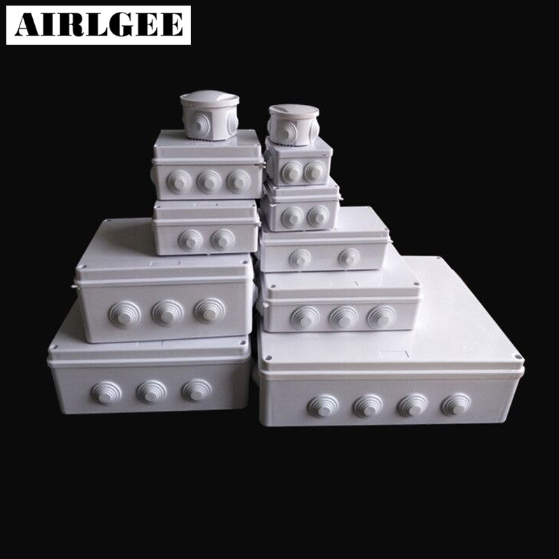 Wholesale ABS Plastic IP65 Waterproof Junction Box DIY Outdoor Electrical Connection box Cable Branch box 200x100x70mm white abs plastic waterproof dust proof junction box 36mm open hole diy electrical connection outdoor monitor distribution box