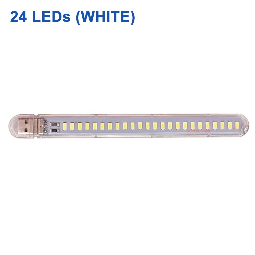 DC 5 В Мини светодиодный Ночной светильник, портативный 10 светодиодный s 24 светодиодный s USB настольная лампа для чтения, сгибаемый удлинитель, адаптер для США, книжный светильник s - Испускаемый цвет: 24LEDs White
