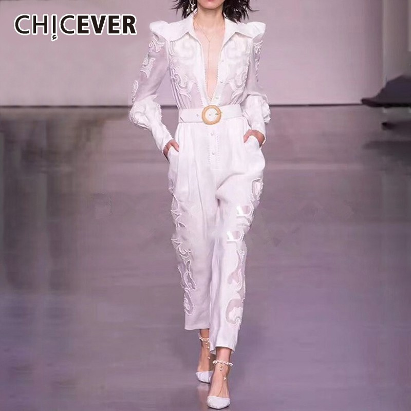 CHICEVER Summer Embroidery Jumpsuit For Women Lapel Collar Long Sleeve High Waist Perspective Slim Pants Female Fashion 2020 New
