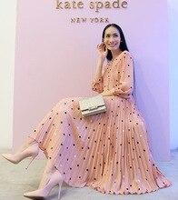 PIXY Pink Polka Dot Long Dress Women Sweet Tunic Pleated Dresses Elegant Ladies Shirt vestidos verano Holiday Beach sukienka