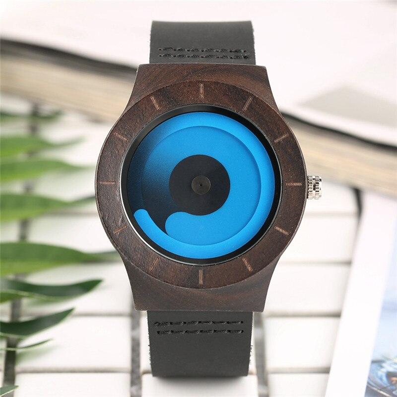 Wood Case Creative Women Watches Blue/Pink Swirl Pointer Genuine Leather Band Fashion Ladies Wristwatch Bamboo Clock Female Gift