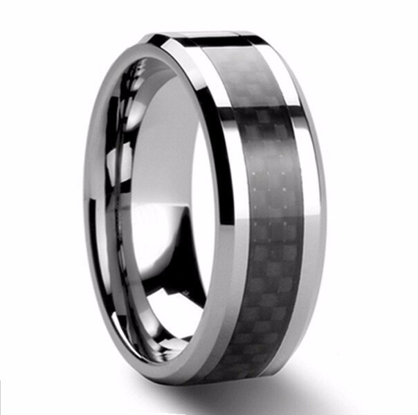 Russian Canada Brazil 8mm Mens Black Carbon Fiber Tungsten Carbide