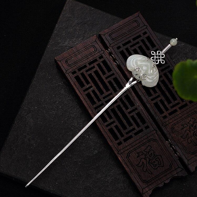Pierre incrustée Thai argent épée bâton de cheveux Vintage Style chinois argent épingle à cheveux bijoux de mariage cheveux accessoires WIGO1287