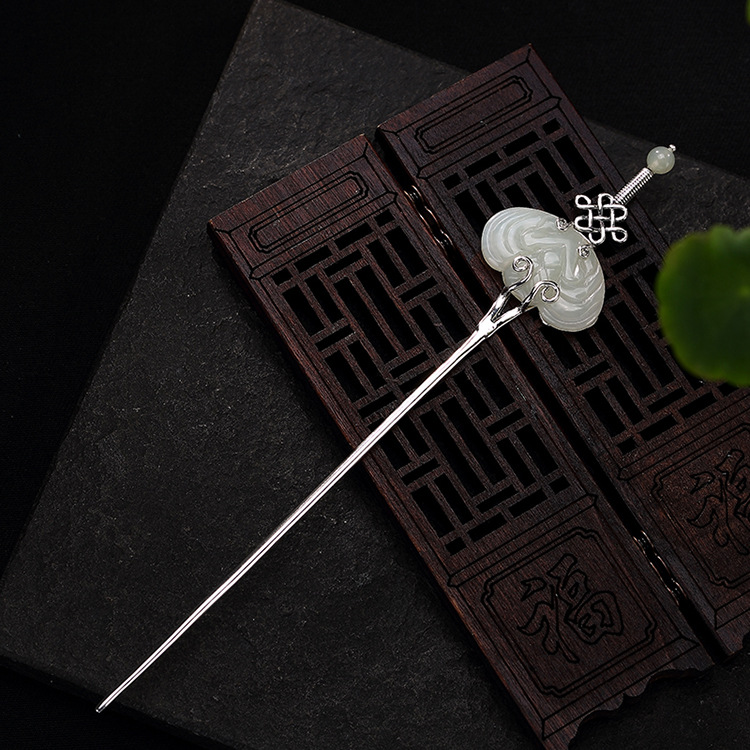 Stone Inlay Thai Silver Sword Hair Stick Vintage Chinese Style Silver Hairpin Hair Pin Jewelry Wedding Hair Accessories WIGO1287 1 pair square faux sapphire inlay hairpin