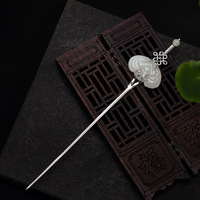 Stone Inlay Thai Silver Sword Hair Stick Vintage Chinese Style Silver Hairpin Hair Pin Jewelry Wedding Hair Accessories WIGO1287